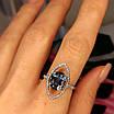 Серебряное родированное кольцо с лондон топазом, фото 5