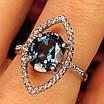 Серебряное родированное кольцо с лондон топазом, фото 4