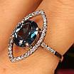 Серебряное родированное кольцо с лондон топазом, фото 2