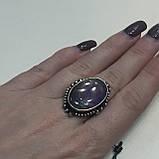 Кольцо овал аметист в серебре. Кольцо c аметистом 16 размер Индия, фото 5