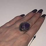 Кольцо овал аметист в серебре. Кольцо c аметистом 16 размер Индия, фото 6