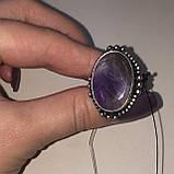 Кольцо овал аметист в серебре. Кольцо c аметистом 16 размер Индия, фото 4
