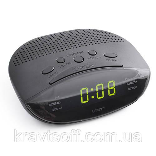 Часы сетевые 908-2 зеленые, радио FM, 220V