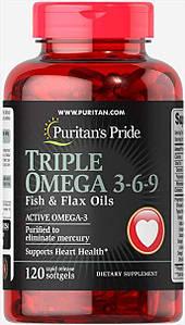 Омега-3-6-9 Puritan's Pride Triple Omega 3-6-9 Fish&Flax Oils 120 капс.
