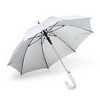 Зонт-трость полуавтомат двухцветный, ручка пластик, серебристо-белый, от 10 шт.