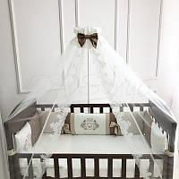 """Премиум комплект в детскую кроватку  """"Royal """" шоколад (сатин), фото 1"""
