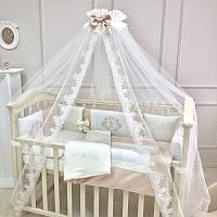 """Премиум комплект в детскую кроватку  """"Royal """" кремовый (сатин), фото 1"""