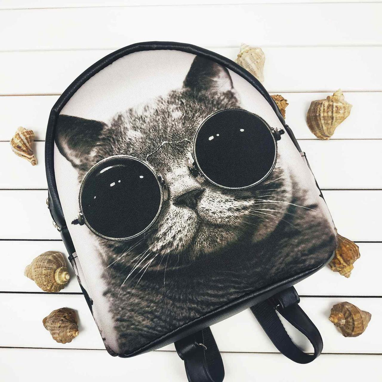 Стильный женский рюкзак с принтом Кот в очках