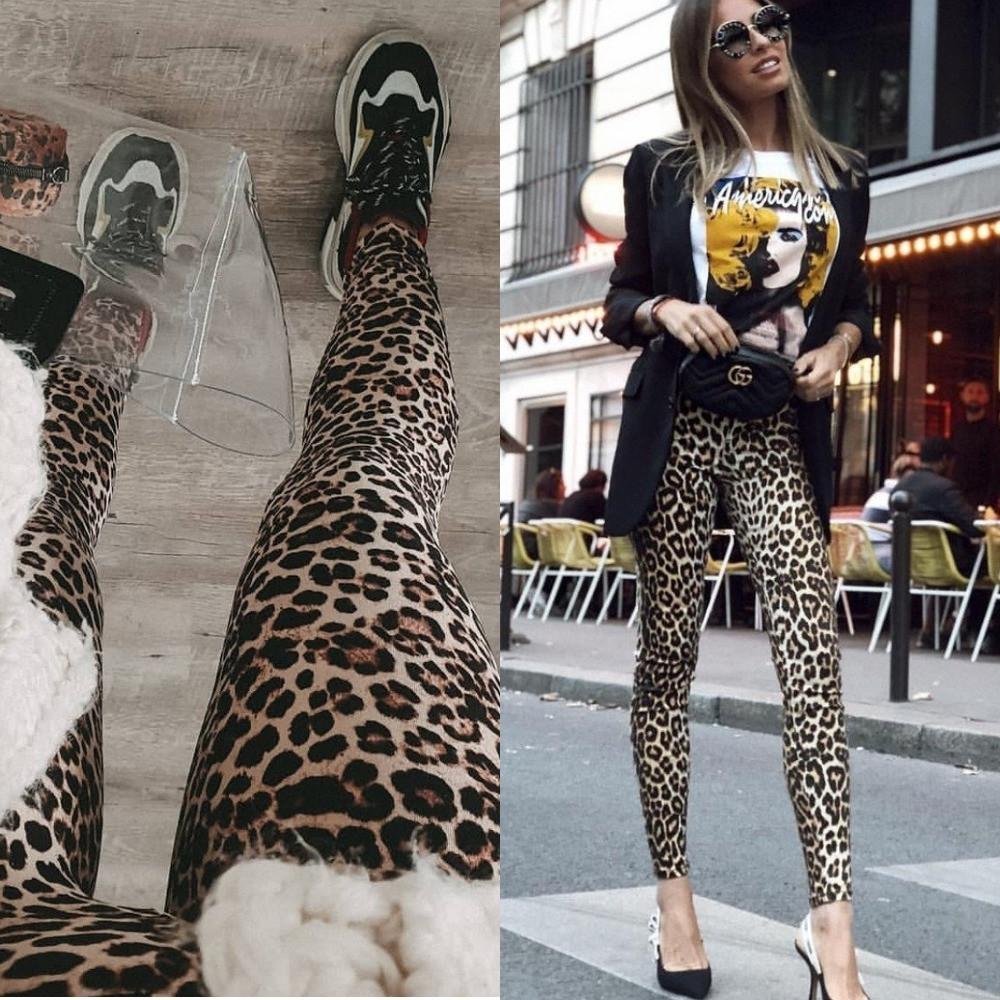 Лосины женские трикотажные, леопардовый принт, повседневные, модные, удобные, молодежные, фото 1