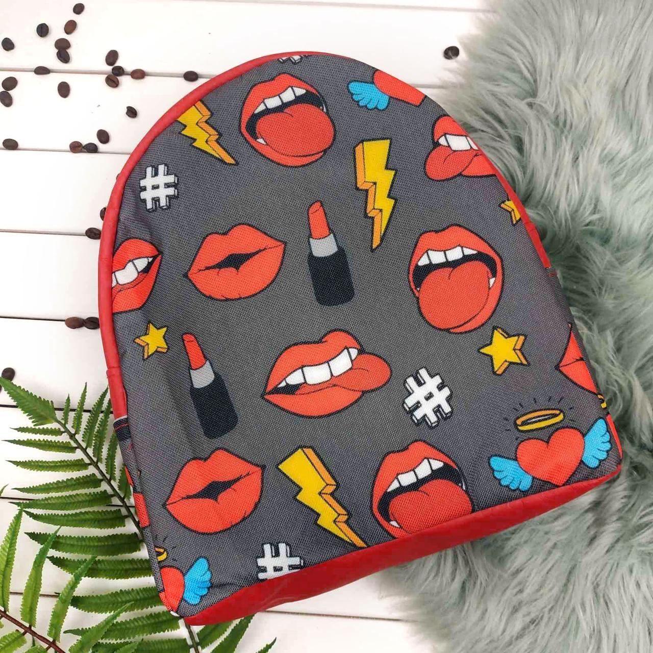 Красный женский городской рюкзак с принтом Поп арт