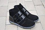 Ботинки женские без каблука на липучке замшевые черные от производителя 253020, фото 2