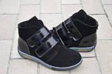 Ботинки женские без каблука на липучке замшевые черные от производителя 253020, фото 3