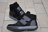 Ботинки женские без каблука на липучке замшевые черные от производителя 253020, фото 4