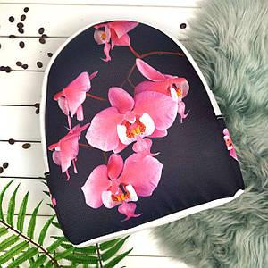 Белый городской рюкзак с принтом Розовая орхидея