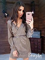 Платье из люрекса с верхом на запах, длинным рукавом и поясом 66mpl420Q