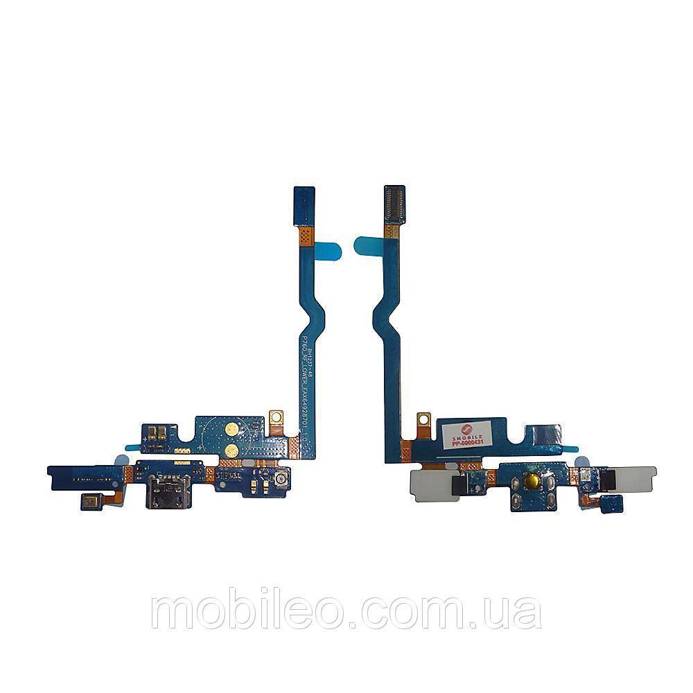 Плата нижняя (плата зарядки) LG P760 Optimus L9 | P765 Optimus L9 с разъемом зарядки и компонентами