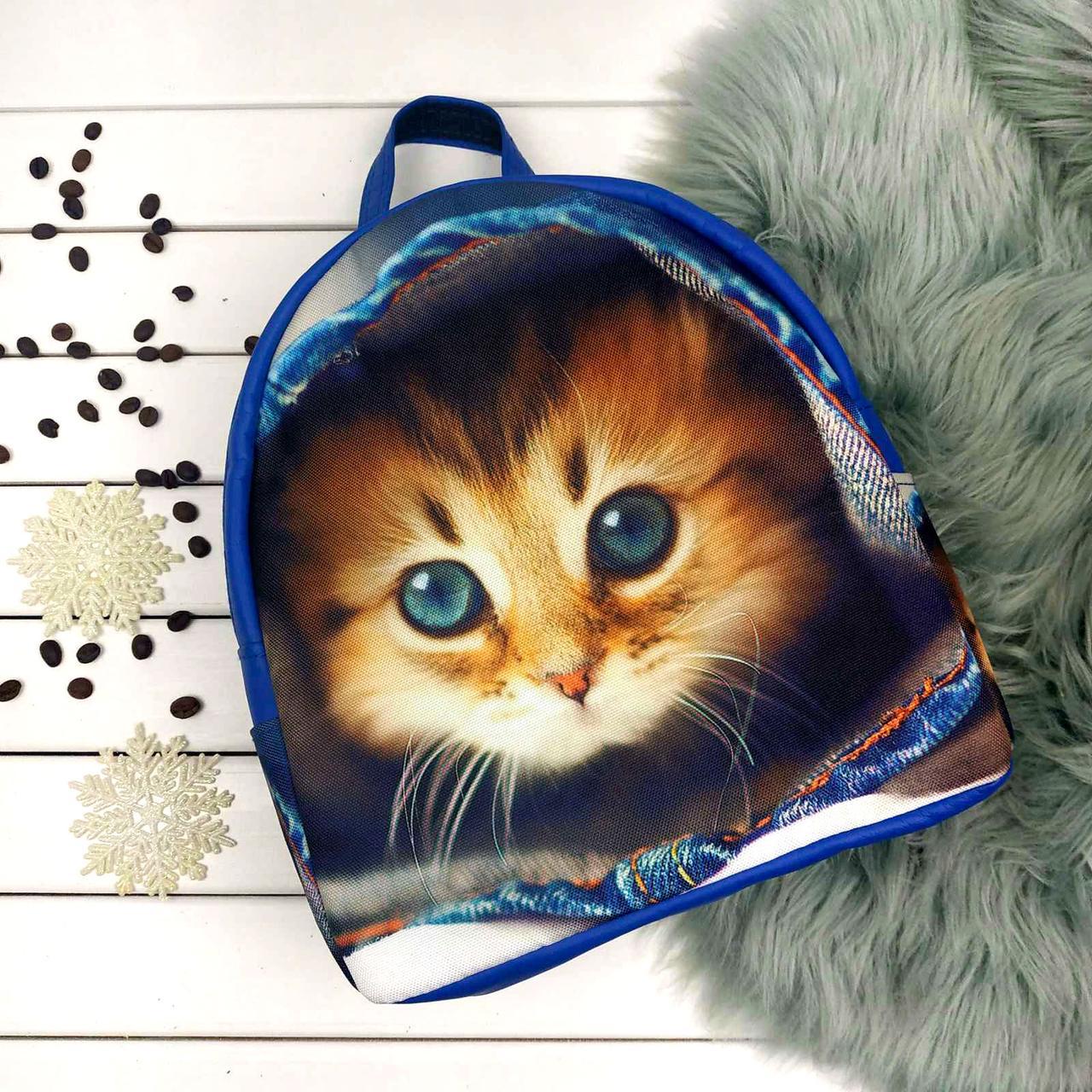 Синий городской рюкзак с принтом Кот
