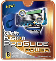 Сменные лезвия для бритвы Gillette (джилет) Fusion ProGlide Power упаковка 8 шт