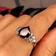 Серебряное кольцо с гранатом - Женское кольцо с гранатом серебро, фото 4