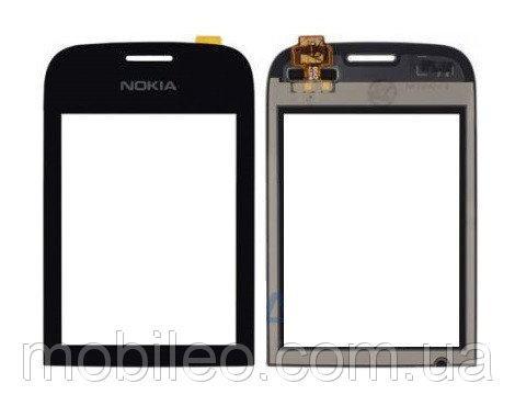 Сенсорный экран (тачскрин) Nokia 202 Asha 200 чёрный ориг. к-во