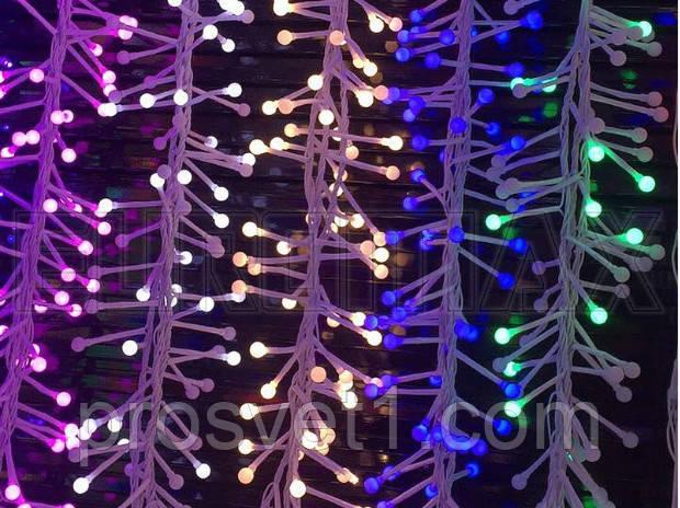 Гирлянда 200 LED с бел. проводом и круглой лампой (синий)