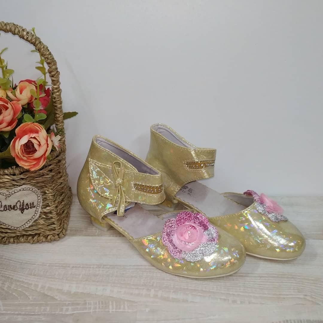 Туфли на  девочку 28,29,30,31,32 р  арт 07-9-2 золото GFB., фото 1