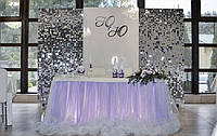 Зеркальные серебряные инициалы молодоженов на свадьбу. Монограмма на свадьбу