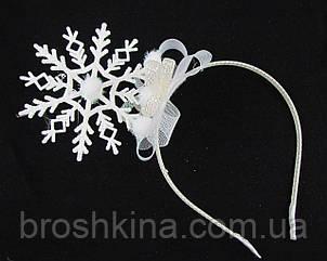 Новогодний ободок для волос Снежинка высота 10 см
