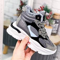 """Ботинки женские зимние, серого цвета из эко кожи """"8970"""". Черевики жіночі. Ботинки теплые, фото 2"""