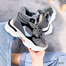 """Ботинки женские зимние, серого цвета из эко кожи """"8970"""". Черевики жіночі. Ботинки теплые, фото 3"""
