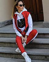 Женский костюм тройка на флисе с пайетками