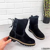 Женские ботинки зимние, черного цвета из натуральной замши, внутри теплый эко мех, фото 1
