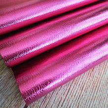 Экокожа на тканевой основе, 35х20 см, цвет малиновый