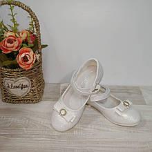 Нарядні туфлі на дівчинку білі 34,35 р Сонце арт 92-3.