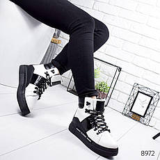 """Ботинки женские зимние, черно-белого цвета из эко кожи """"8972"""". Черевики жіночі. Ботинки теплые, фото 2"""