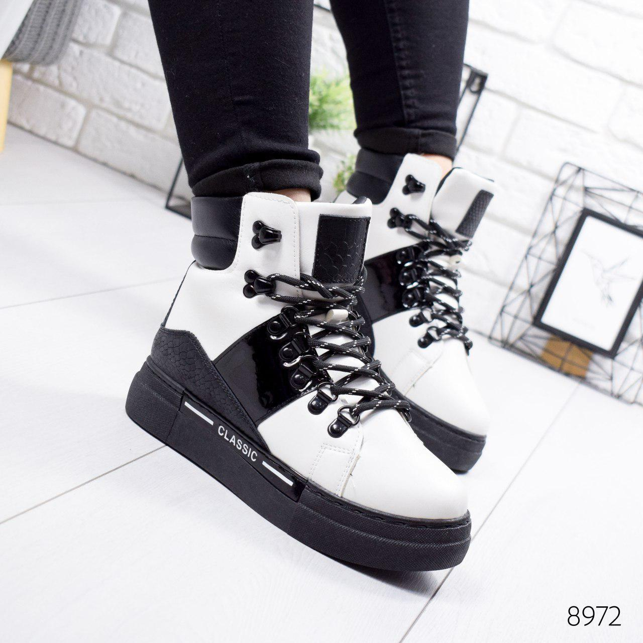 """Ботинки женские зимние, черно-белого цвета из эко кожи """"8972"""". Черевики жіночі. Ботинки теплые"""
