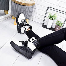 """Ботинки женские зимние, черно-белого цвета из эко кожи """"8972"""". Черевики жіночі. Ботинки теплые, фото 3"""