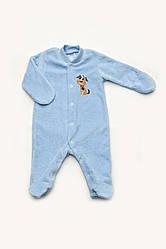 Велюровый комбинезон для новорожденного голубой, Модный карапуз, размер 56