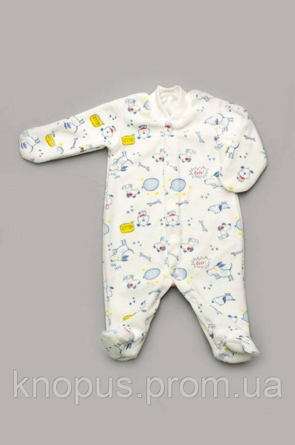 Велюровый комбинезон для новорожденного белый с рисунком, Модный карапуз, размер 56