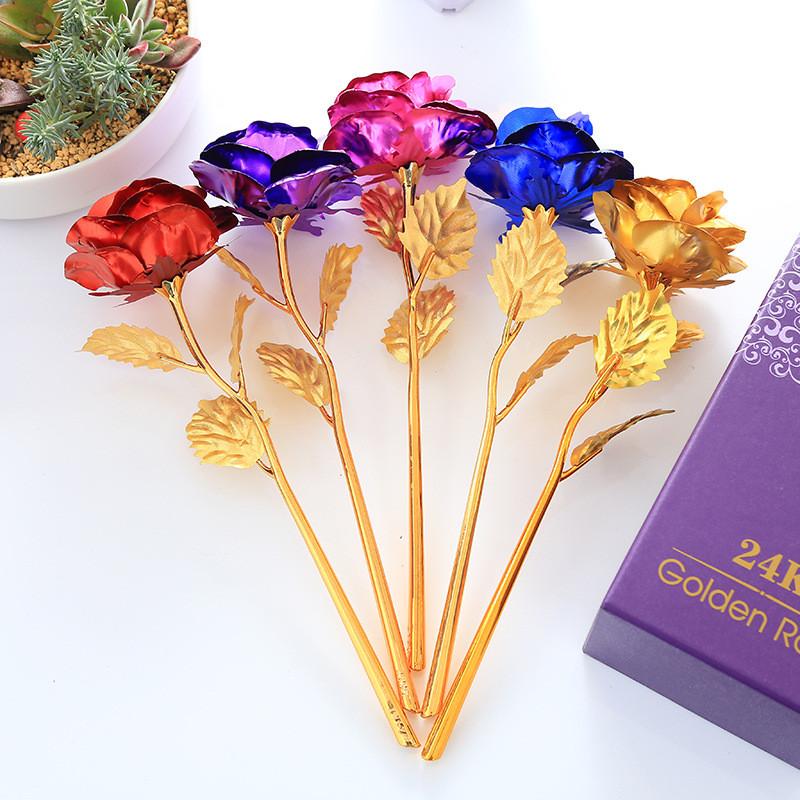 Роза c LED подсветкой Golden Rose 24K в подарочной упаковке, фото 1
