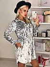 Женское платье мраморный велюр серое S-М M-Л, фото 3