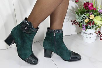 Зеленые замшевые ботинки демисезонные на каблуке Berloni 209