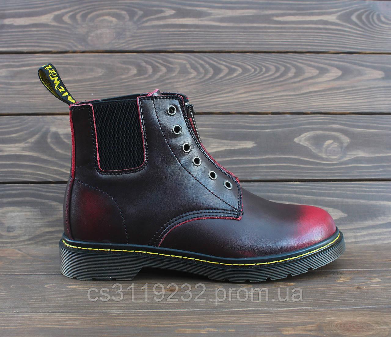 Женские ботинки Dr.Martens 101 GUSSET Red демисезонные (вишневые)
