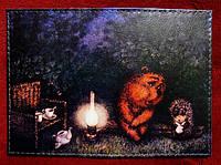 Визитница-держатель для карточек Ежик и медвежонок, в сложенном виде 10,5 х 7 см.