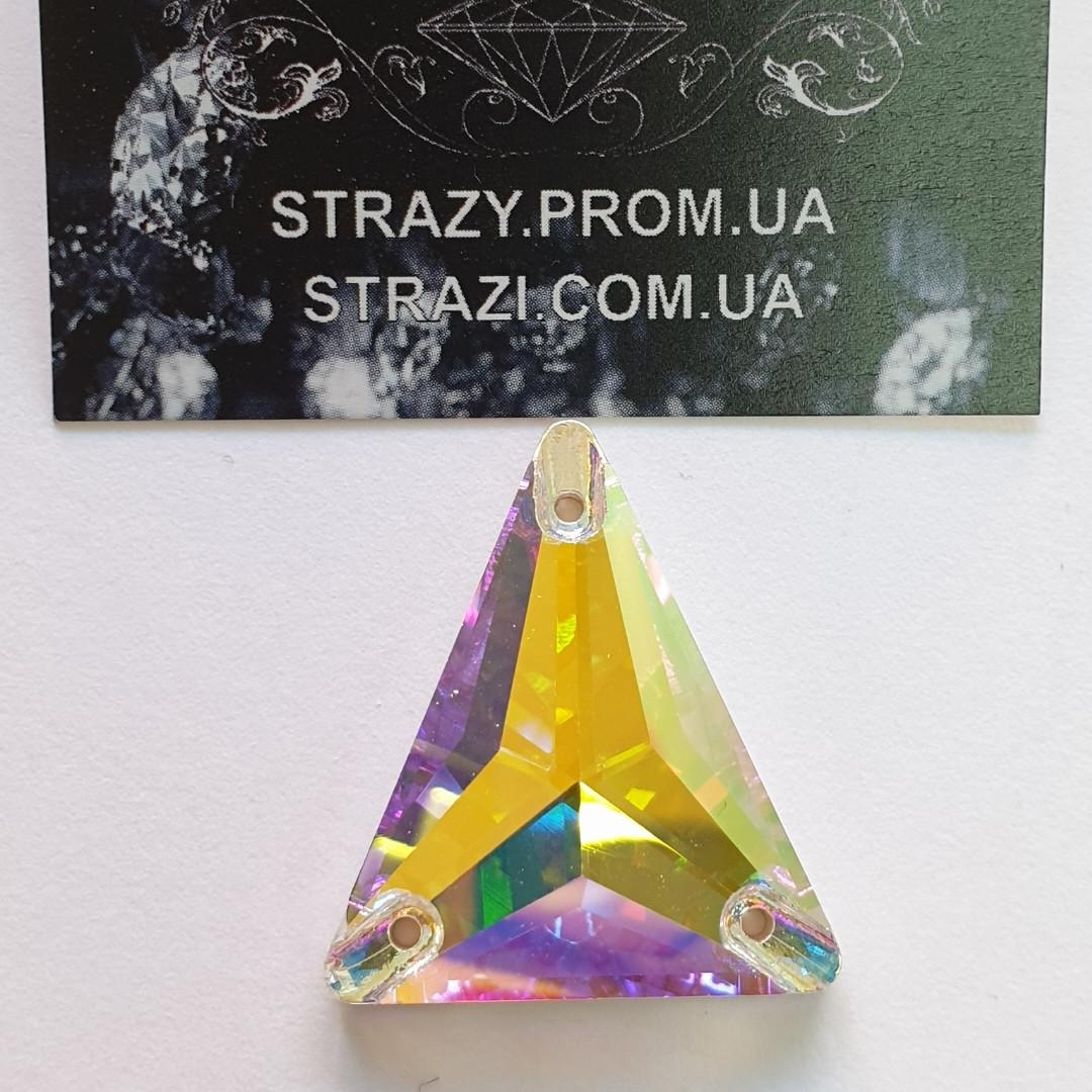 Стразы пришивные SWARO Треугольник New 25*28мм. Crystal AB