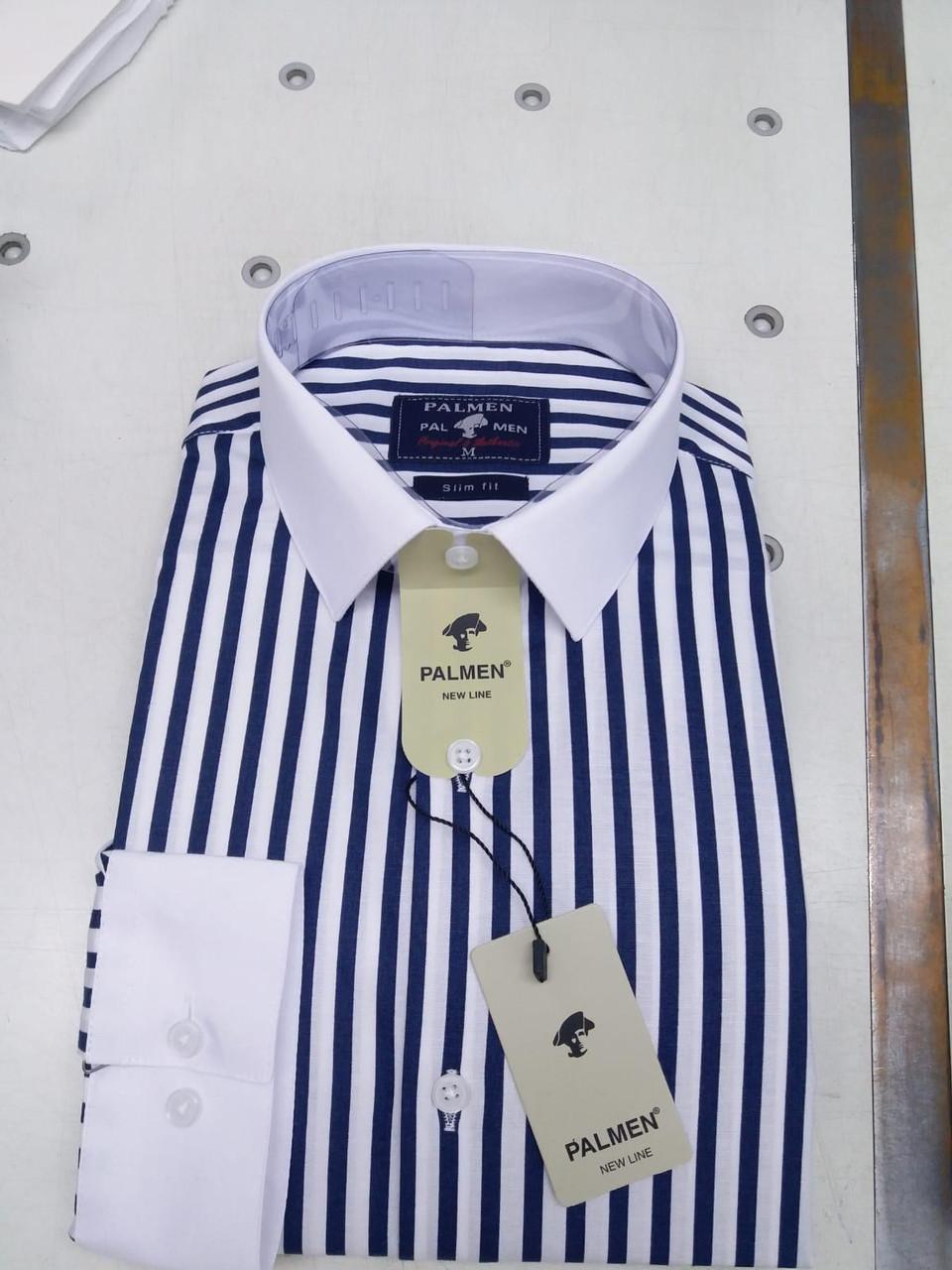 Мужская рубашка стрейч-коттон Palmen slim в полоску