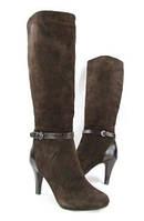 Женские демисезонные коричневые сапоги на каблуке натуральная замша  ALFANI, фото 1