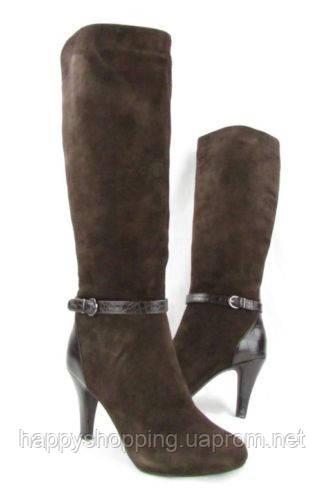 Женские демисезонные коричневые сапоги на каблуке натуральная замша  ALFANI