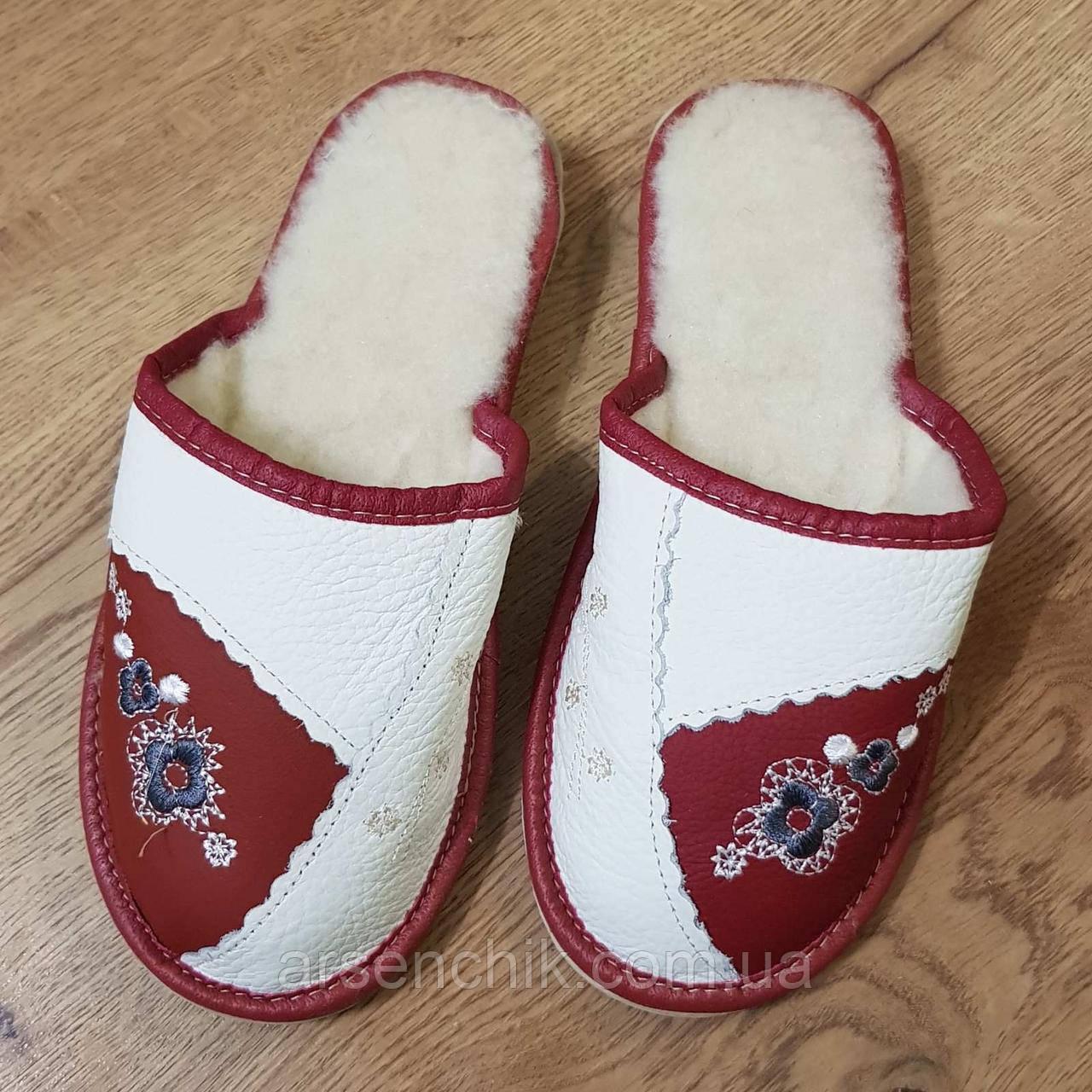 """Домашние кожаные тапочки женские на овчине """"Polmar"""" 36"""
