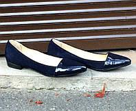 Туфли лодочки из натуральной замши синего цвета